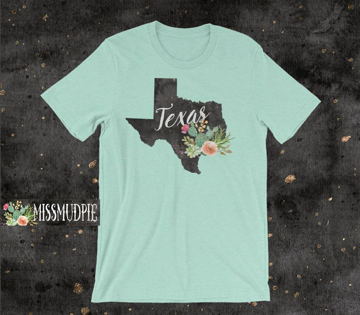 Texas T-shirt color: Heather Mint State cactus unisex desert flower Austin Dallas San Antonio Houston home native texan southern cowgirl by missmudpie on Etsy