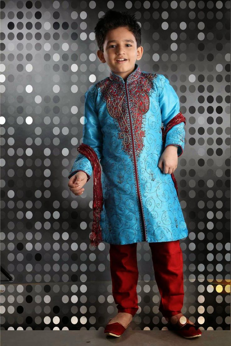 Flamboyant Azure Blue Kids Boys Wear - LXVN070D0190B | Indian Trendz
