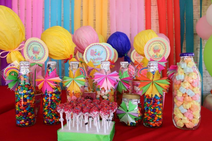 Center piece and candy treats for candyland candy world theme party