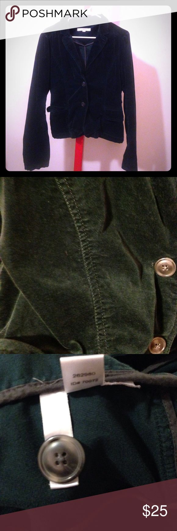 Dark green festive velvet velour blazer jacket Great condition Ann Taylor Loft long-sleeve two-button velour blazer, size 8 (runs a little large I think, I usually wear a 10 or 12). Second photo (closeup) shows the color pretty well, it is a dark green that looks black in low light. Comes with an extra button. Soft and elegant, great for the holidays! LOFT Jackets & Coats Blazers