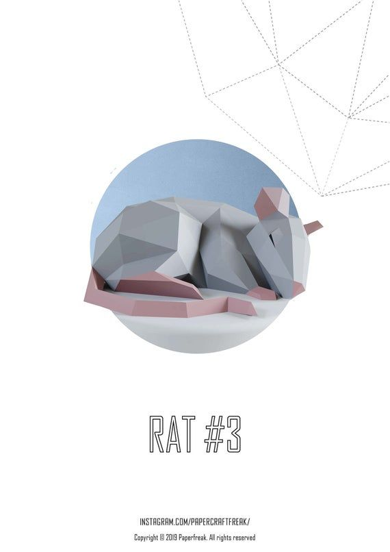 Papercraft 3d Rat Mouse 3 Chinese New Year Symbol Paper Sculpture Pepakura Gift Low Poly Diy Decor For Loft Home And Office Template In Pdf Trafarety Deyatelnost