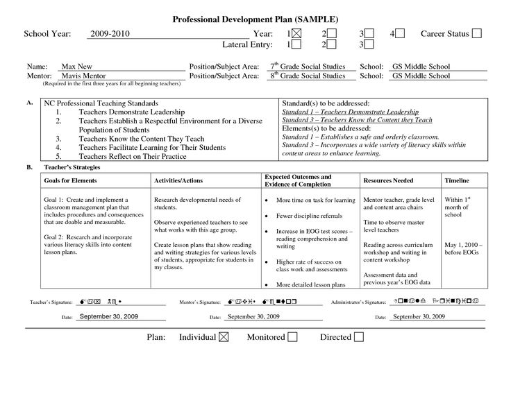 professional learning plan examples