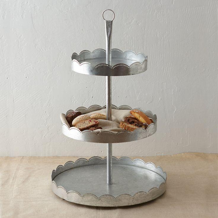 Three-Tier Zinc Dessert Stand