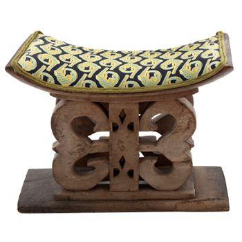 Ardmore Ceramics Batonka Stools: Ashanti Stool in Lime Light Croco Fabric