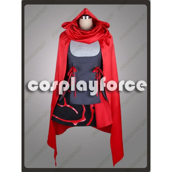 RWBY Season 2 RWBY-Red Trailer Ruby Rose Cosplay Costume ($109) ❤ liked on Polyvore featuring costumes, cosplay, ladies costumes, lady costumes, role play costumes, ladies halloween costumes and rubies costumes