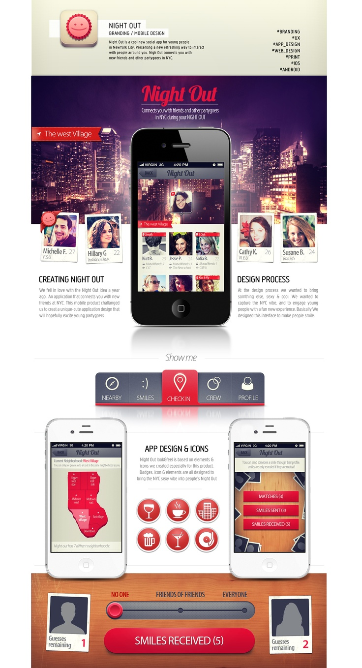 We fell in love with the Night Out idea a year ago.  An application that connects you with new friends at NYC. This mobile product challenged us to creat a unique-cute application design that will hopefully excite young partygoers