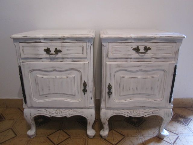 Antique night tables mesas antiguas provenzales muebles - Muebles restaurados vintage ...