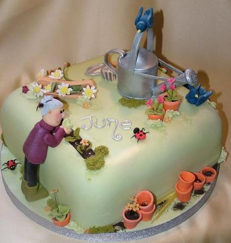 bday gardening cake cute - Garden Design Birthday Cake