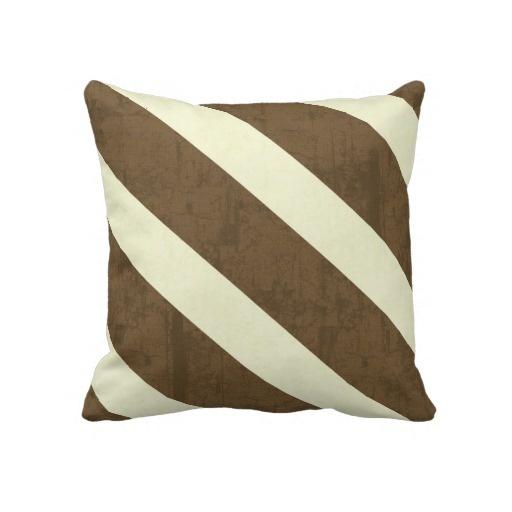 Textured brown and cream stripe throw pillow modern throw pillows