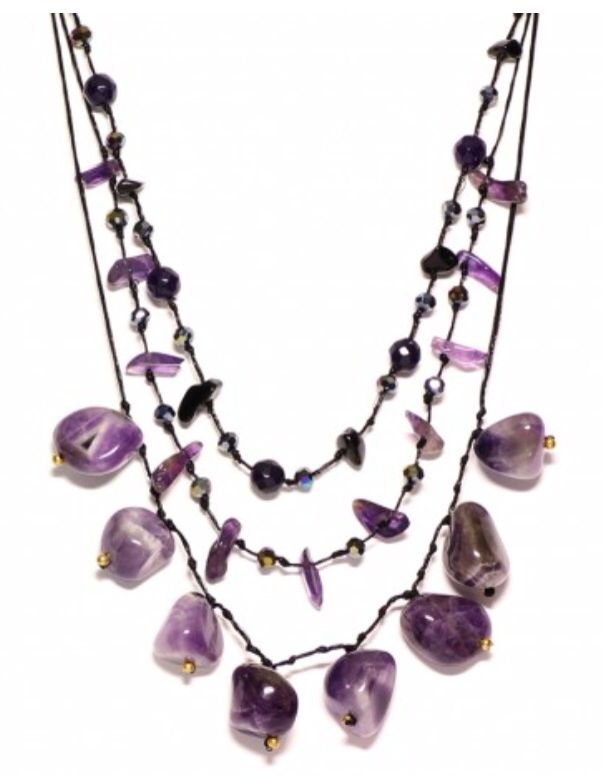 Necklace with amethyst and crystals