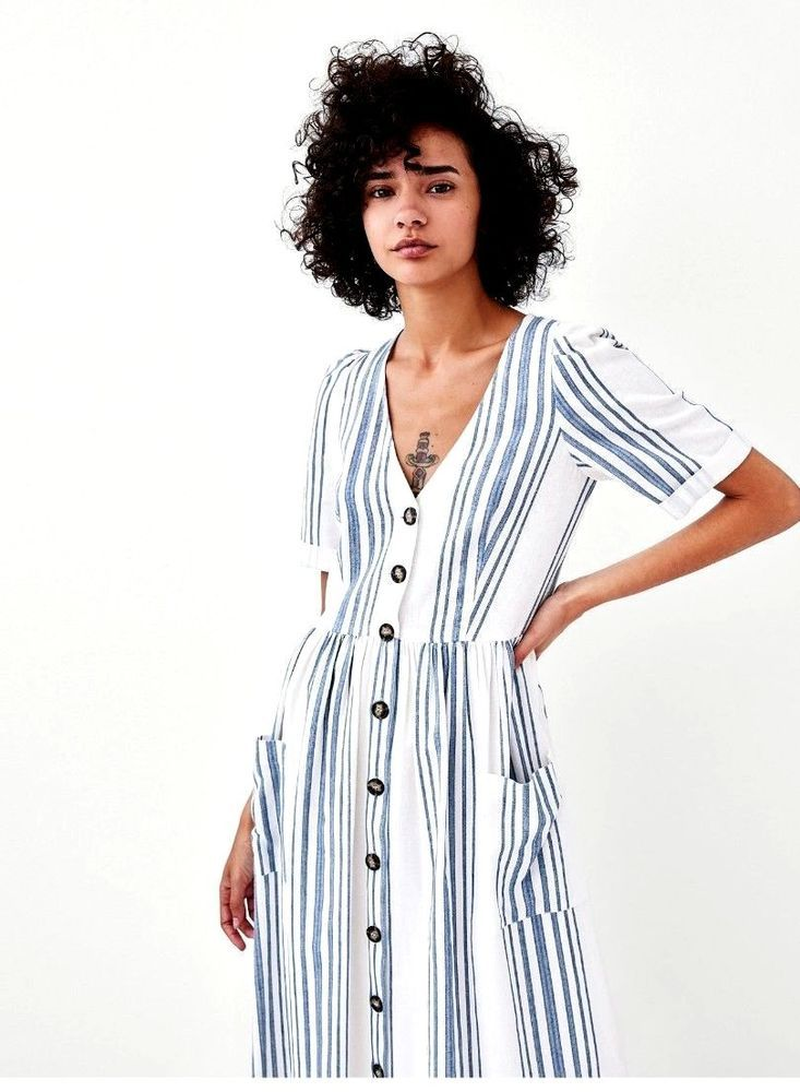 f3dd325e0840 Zara NEW striped kaftan midi dress white and blue buttoned SIZE M UK 10   fashion  clothing  shoes  accessories  womensclothing  dresses  ad (ebay  link)