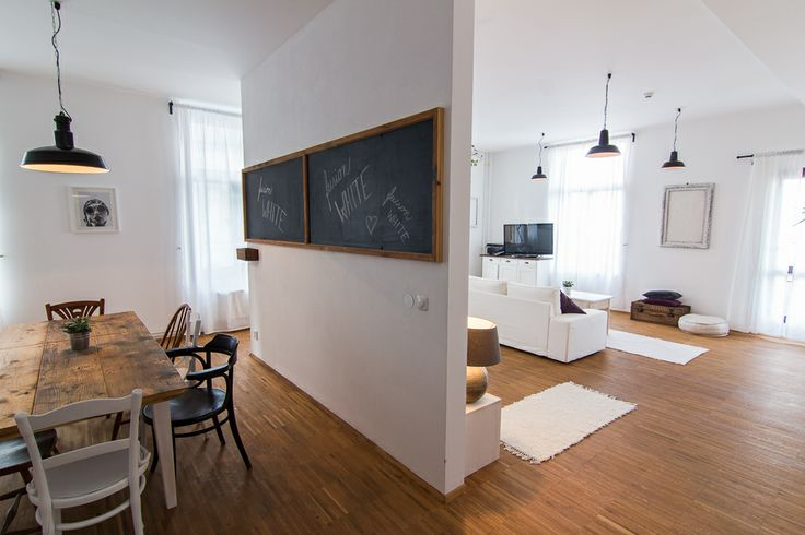 The space- divided into living room/bedroom area, and kitchen/dining area. Designed by www.tinquer.com