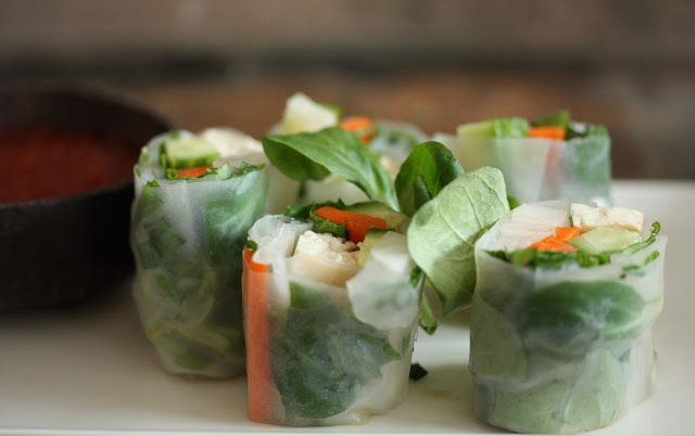 Feasting at Home- Seasonal Recipes: Vietnamese Salad Rolls with Daikon, Avocado and Mint. About 60 calories per roll