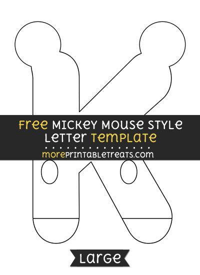 free mickey mouse style letter k template large shapes and templates printables pinterest templates letter k and lettering