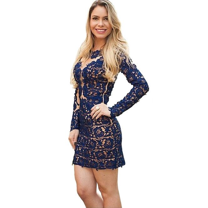 european style from china imported clothes clothed female latest dress designs blue sheath short lace dress vestido de renda