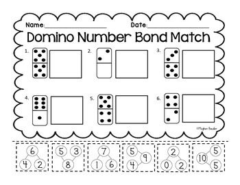 Domino Number Bonds- Cut & Paste! Engaging Common Core Math!