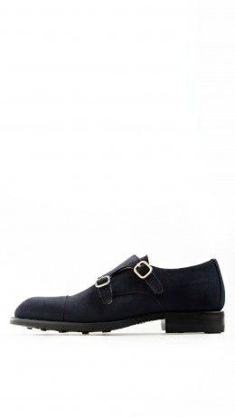 Blue Nubuk leather monkstrap shoes