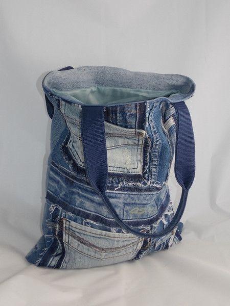 Stoffbeutel - Schopper, Jeanstasche , Jeans Recycling - ein Designerstück von sauterart bei DaWanda