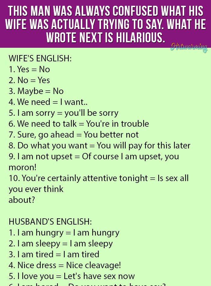 Wife Vs Husband English Funny Joke Wife Memes Funny Funny Long Jokes Jokes About Men