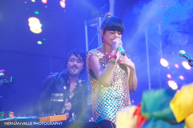 Bomba Estereo pumping up the crowd at Stage 48