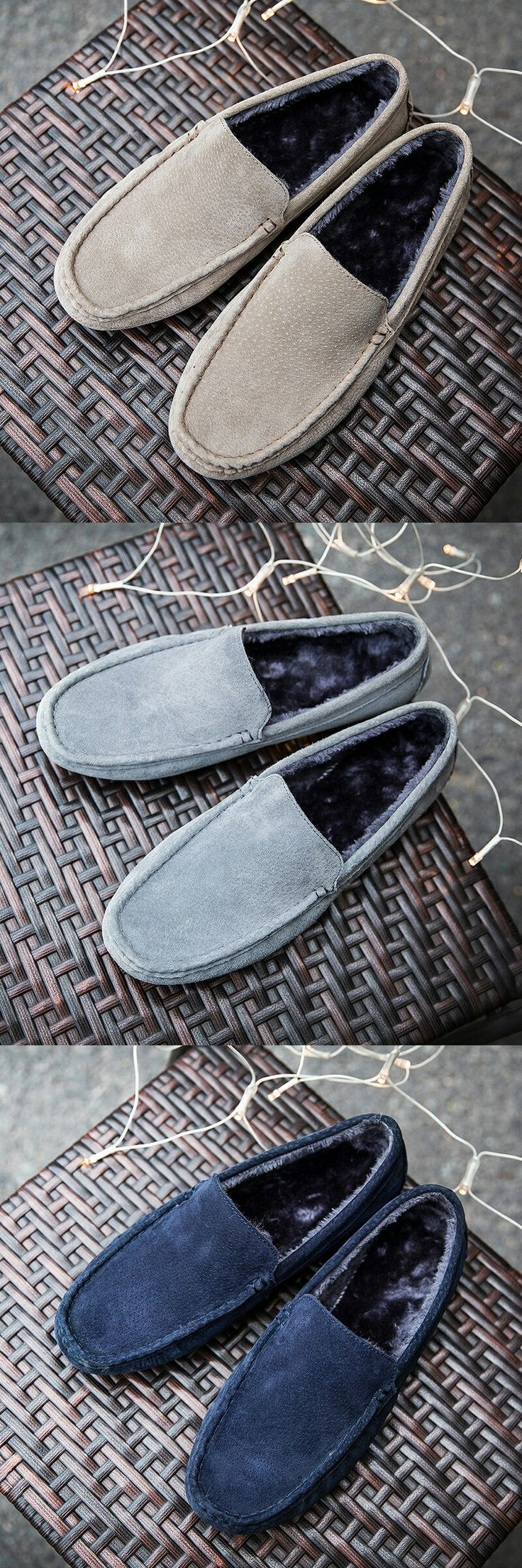 >> Click to buy << Prelesty Autumn Winter Warm Leather & Fur Vintage Genuine Leather Soft Loafers for Men Slip On Moccasins Boat Flats Shoes