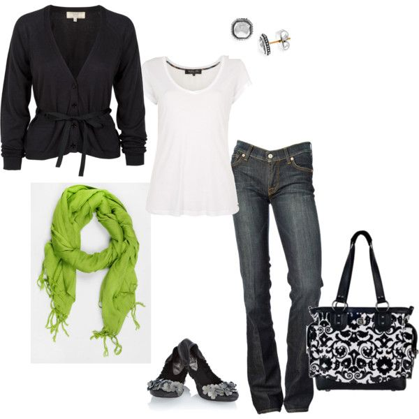 I love the colors.: Mom Style, Pop Of Colors, Green Scarves, Black And White, Outfit, Green Scarfs, Black White, Limes Green, Bags