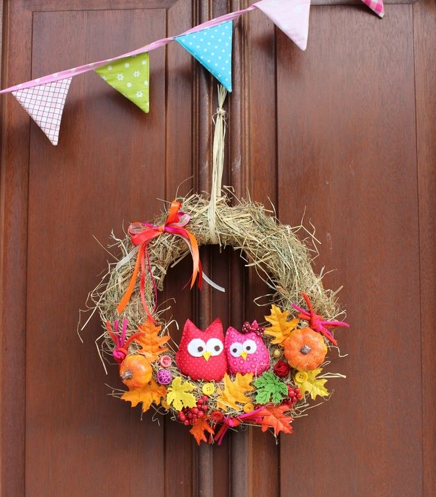 Türkranz Eule Herbst/ door wreath autumn owl | Anastasiyas-Stoffmaerchen bei DaWanda