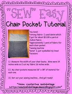 *Bunting, Books, and Bainbridge*: *SEW* Easy Chair Pockets!