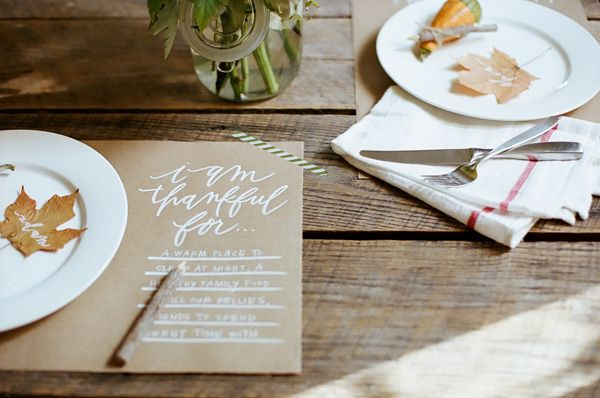 "DIY Thanksgiving Placemat from Oh My Deer. 20""x12"" pieces of kraft paper,"