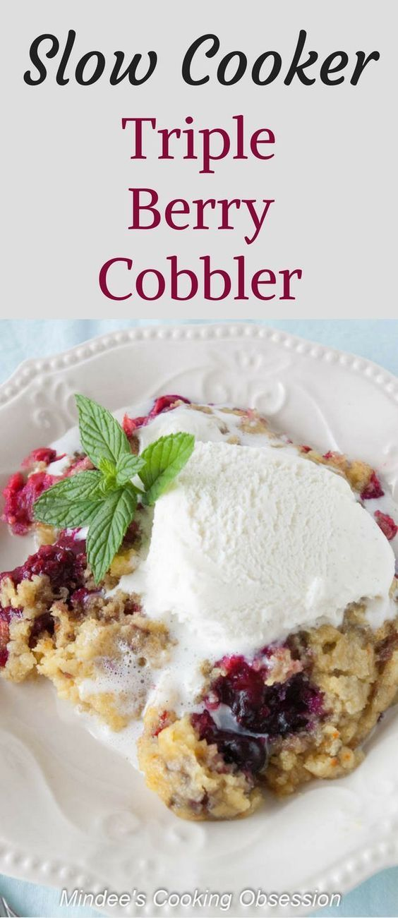 Slow Cooker Triple Berry Cobbler- Quick and easy, slow cooker dessert! Serve this triple berry cobbler with a scoop of vanilla ice cream for a little taste of heaven! via @https://www.pinterest.com/mindeescooking/