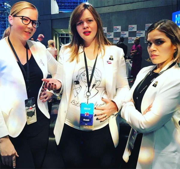 Amy Schumer, Amber Tamblyn & America Ferrera support Hillary Clinton at the Javitz Center in NYC on Nov. 8, 2016 (Courtesy of Instagram)