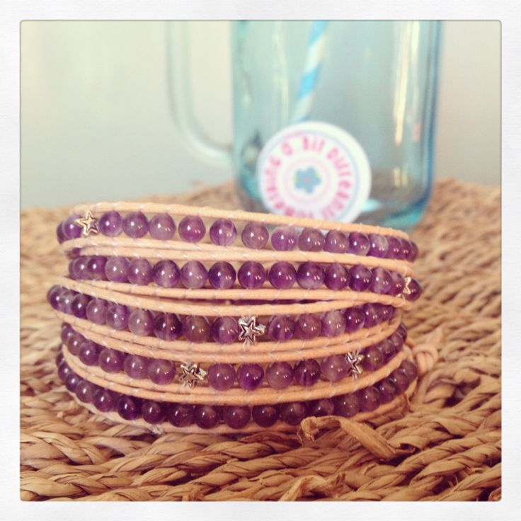 Amethyst and stars wrap bracelet on a natural leather cord! I love it...purple is me favourite colour!!!  #wrapbracelet #bracelet #amethyst #beads #leather #stars #motherofpearl #shell #button #somethingalittlebitdifferent   Buy from www.facebook.com/somethingalittlebitdiffeRnt