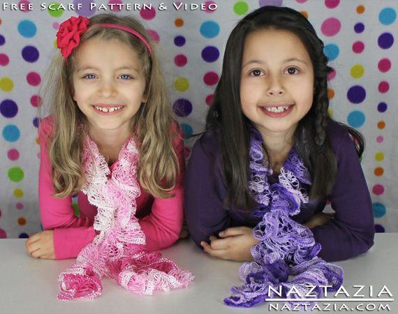 Free Pattern - Very Easy Ruffle (Ruffles, Ruffled) Yarn Scarf - Crochet Hook, Loom Hook, or Finger Knitting Method with YouTube Tutorial Video by Naztazia