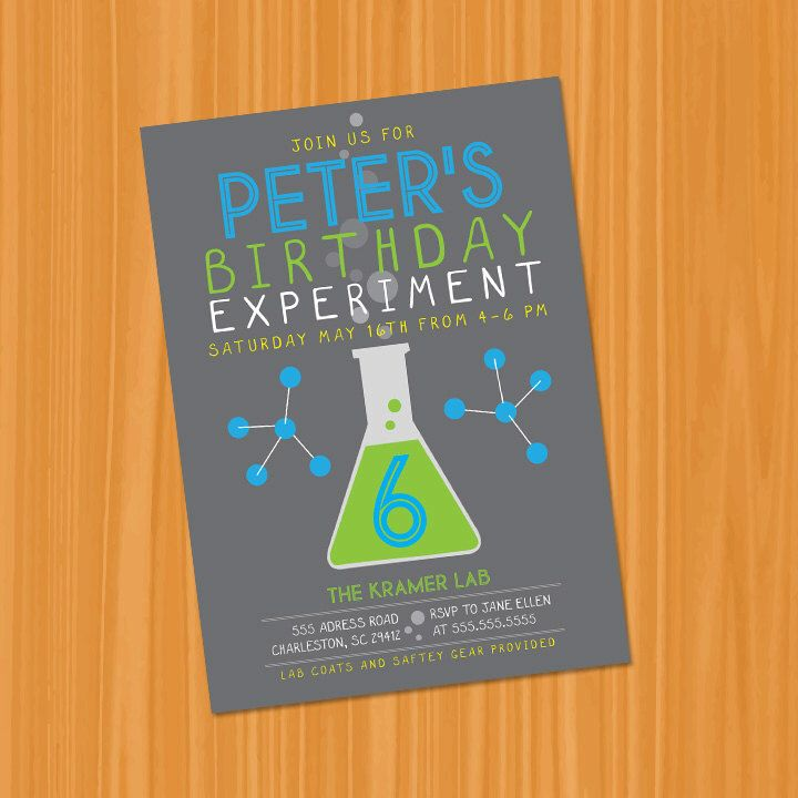 printable or emailable modern science experiment birthday party invitation by bugluv on etsy https - Science Party Invitations