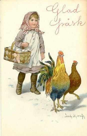 Vintage Swedish Easter greeting postcard (Illustration by Jenny Nyström)