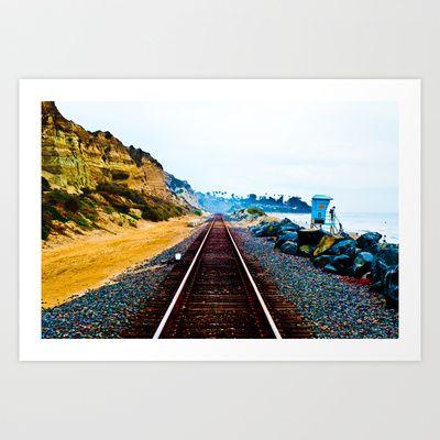 Ocean Train Tracks Art Print by Tim Eisenhauer - $17.68