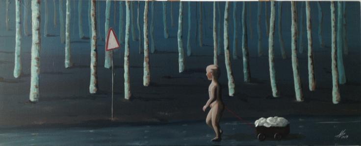 Walking kid  40x100 cm.  Acrylic on canvas