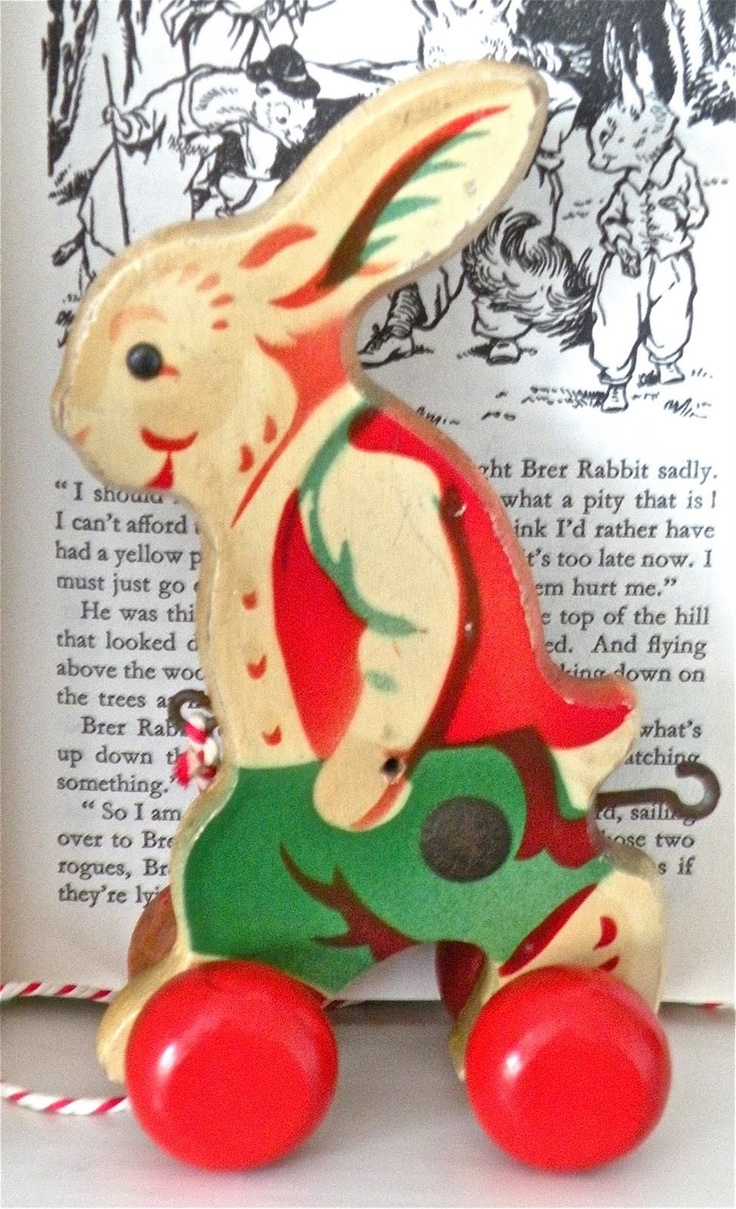 background to vintage rabbit pull toy