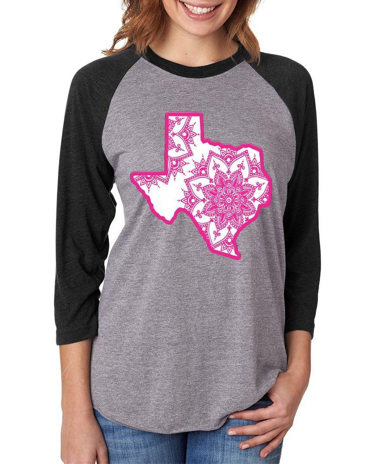 Free Shipping!! Texas Mandala Grey and Black Raglan/ State Shirt/ Texas Shirts/ Pink Texas by RusticGraceCo on Etsy