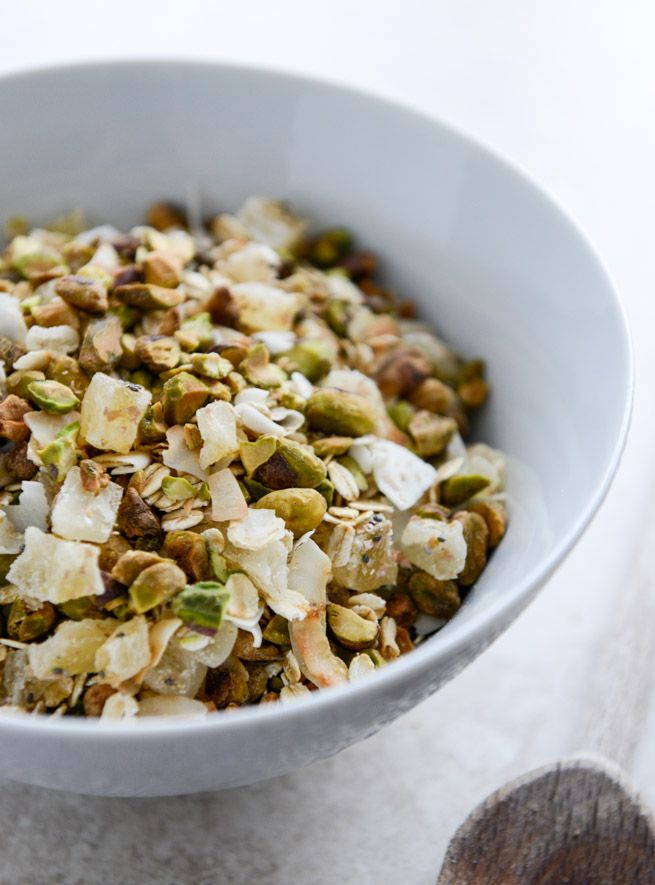 Toasted Pistachio and Pineapple Muesli   3/4 cup pistachios, shells removed and   coarsely chopped  1/3 cup, unsweetened, flaked coconut  1 cup old-fashioned rolled oats  1/2 cup chopped dried pineapple  1/4 cup wheat bran  2 tablespoons chia seeds  2 tablespoons brown sugar  2 tablespoons ground flax seed  2 tablespoons oat bran  1/8 teaspoon salt  yogurt or milk, for serving