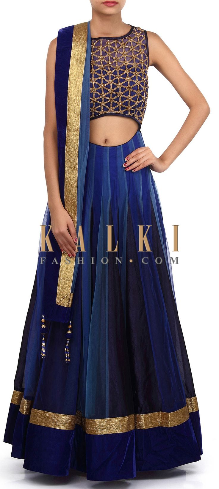 Buy Online from the link below. We ship worldwide (Free Shipping over US$100). Product SKU - 305892.Product Link - http://www.kalkifashion.com/anarkali-suit-features-with-alternate-kali-in-blue-only-on-kalki.html