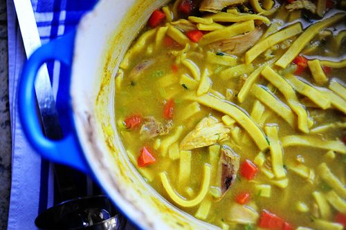 Pioneer Woman chicken and noodles. I used shredded boneless chicken cooked in the crockpot and added it to my own chicken stock instead of using the whole fryer. These kind of noodles make it! Delish, will make again!