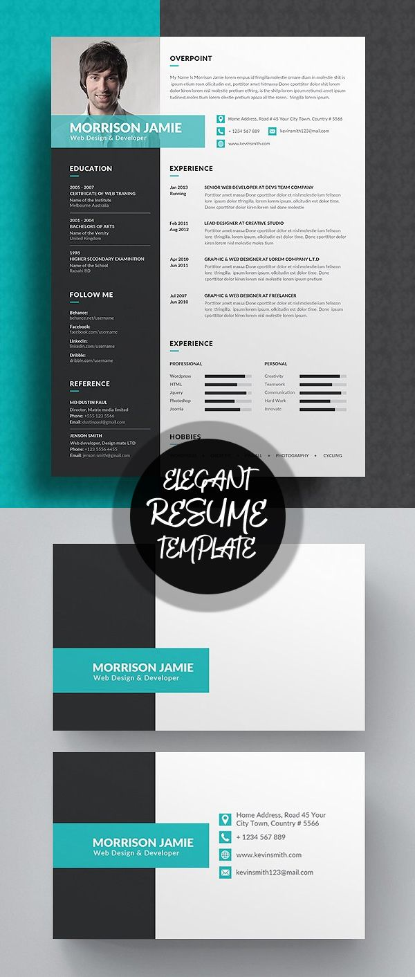 graphic design resume template%0A New Professional CV   Resume Templates with Cover Letter   Design   Graphic  Design Junction