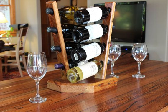 Wine Rack Rustic Reclaimed Heart Pine by ReFabWoodRecyclery, $75.00