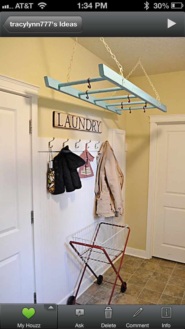 Laundry room idea for drying clothes.