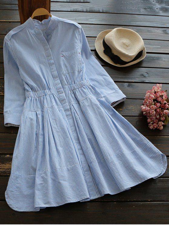 Striped Linen Blend Shirt Dress - BLUE/WHITE M