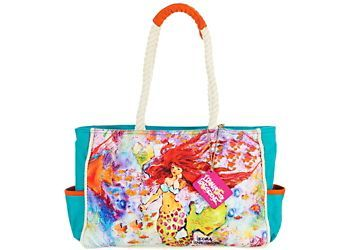 Beach-ready bag by Leoma Lovegrove features a colorful mermaid artwork on both sides, outside slip pockets with contrast trim, rope-twisted handles, main compartment with inside zip and slip pocket and a 5.5 in. x 6 in. zip pouch. 16 in. x 4 in. x 10 in. with a 10 in. drop.
