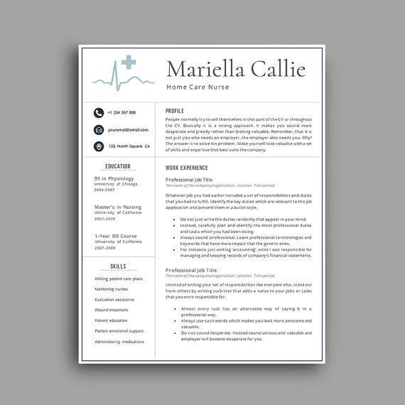 Nurse Resume Professional Resume Template 1 2 3 4 Page Resume