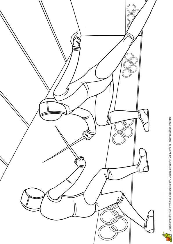 Coloriage jeux olympiques : escrime Hugolescargot.com - Hugolescargot.com