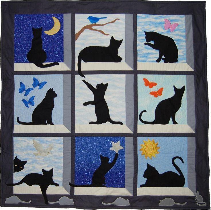 Mirando hacia fuera Kitty Quilt / WallHanging